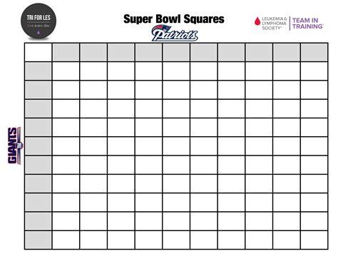 super bowl squares pool  charity tri  les