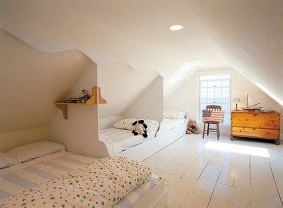 beds built  sloped ceiling great   space