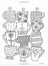 Coloring Cafe Adult Volume Sheets Printable Ronnie Walter Doodles Doodle Journal Bullet Embroidery Para Colouring Baptism Dibujos Teapots Cups Planner sketch template