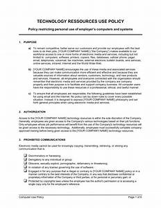 Computer Use Policy Template Computer Use Policy Template Sample Form