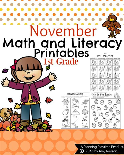 1st Grade Math And Literacy Worksheets With A Freebie!  Planning Playtime