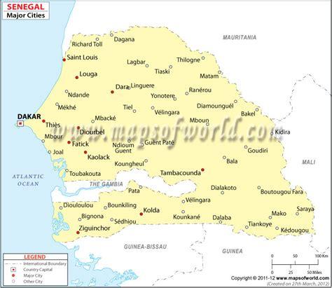 senegal cities map major cities  senegal