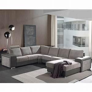 Canap panoramique gris en tissu sofamobili for Tapis de yoga avec canapé panoramique en tissu