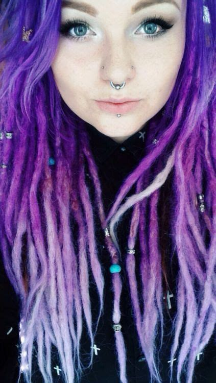 colored dreadlocks pastel purple dreads all knotted up dreads in