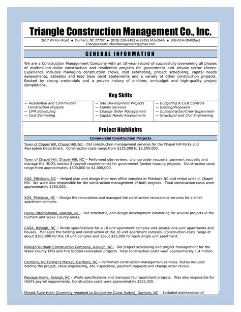 Construction Company Resume Template by Resume Of Tcmc