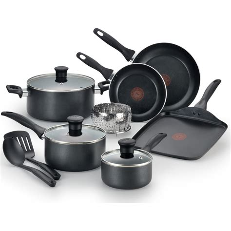 T Fal Toaster by T Fal 12 Easy Care Non Stick Cookware Set Gray