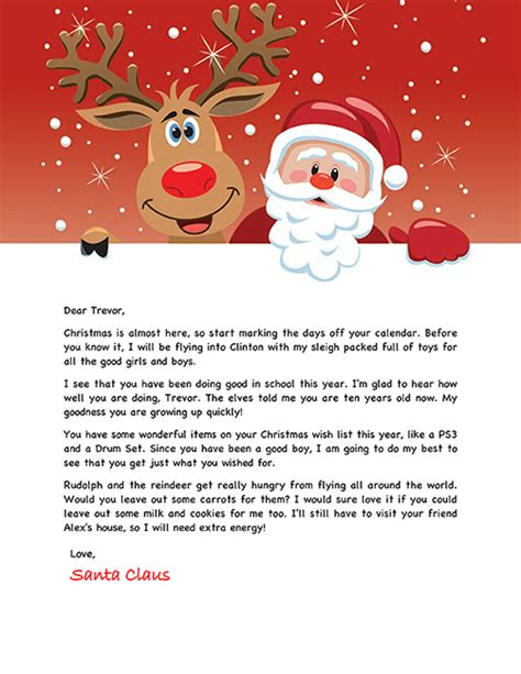 santa letter holiday christmas personalized
