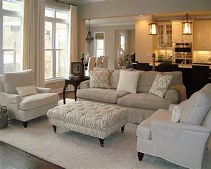 Neutral, Living, Room, With, Overstuffed, Beige, Sofa, Beige, Linen, Armchairs, And, A, Tufted, Ottoman