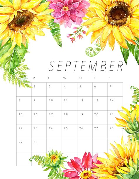 Calendar September 2019 Printable With Holidays - Net Market Media Calendar September 2019 ...