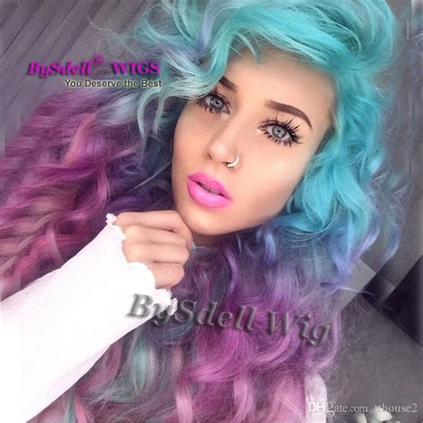pastel colored wigs unicorn colorful mermaid style wig synthetic pastel