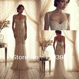 Ann003 anna campbell luxury mermaid wedding dress vintage for Beaded top wedding dress