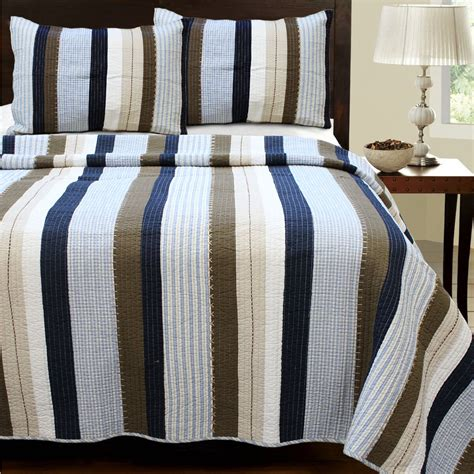 navy and brown bedding navy blue brown striped teen boy bedding twin xl full queen king quilt set cotton bedspread