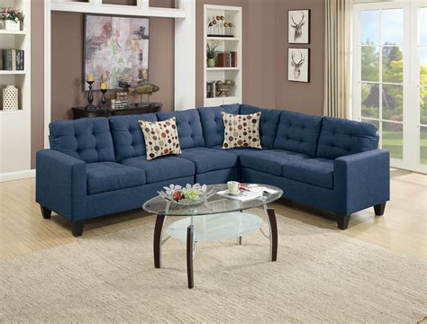 Navy Sofa by F6938 Navy Blue Sectional Sofa By Poundex