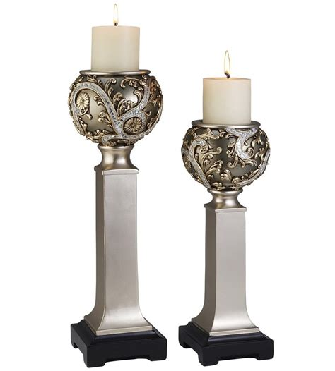 Decorative Candle Holders by Decorative Candle Holders Silver Vine Set Of 2 In