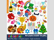 Holiday Pack Clip art set Holiday clipart