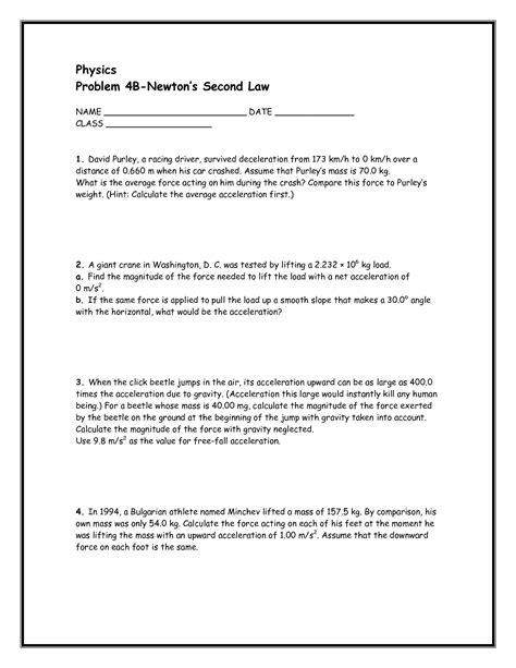 newtons second worksheet newton39s homework help
