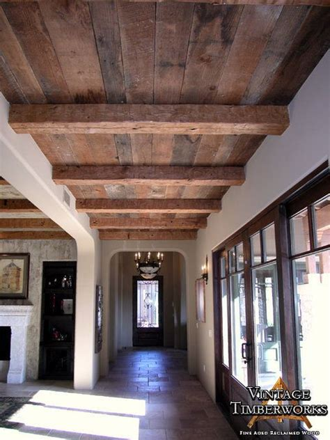 flat ceiling beams  random width decking dream home