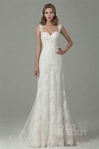 fabulous sheath column straps natural train lace ivory With wedding dress straps
