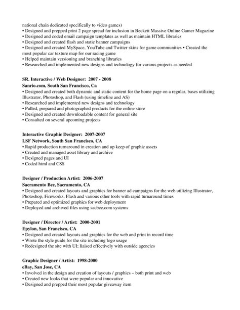 Production Artist Resumes by Professional Graphics Designer Production Artist Resume