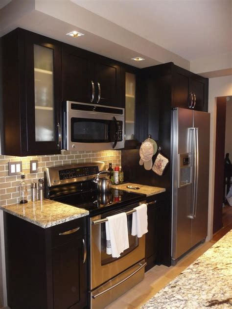 kitchen ideas with stainless steel appliances espresso cabinets with stainless steel appliances and