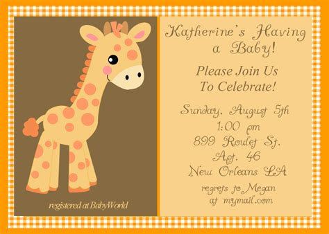 giraffe baby shower invitations dolanpedia invitations