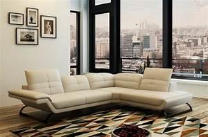 Canapé Droit Xxl : canap d 39 angle en cuir italien 5 places moderni ivoire mobilier priv ~ Teatrodelosmanantiales.com Idées de Décoration