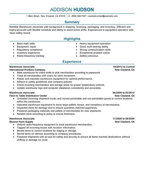 Free Sle Of A Warehouse Worker Resume by Warehouse Associate Resume Exle Free Resume Templates
