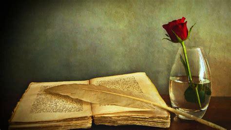 rose quills books flowers vases artwork painting