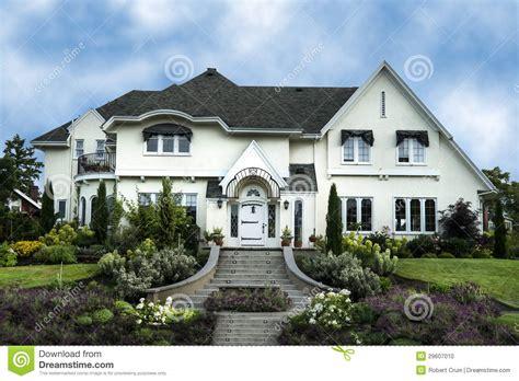 Exterior Of White Stucco Luxury House Stock Photo Image
