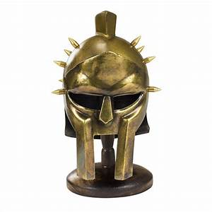 Miniature Gladiator Maximus Helmet Display Golden Finish