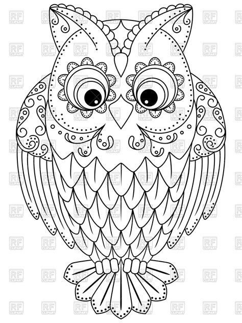 outline  cartoon owl vector image  plants  animals