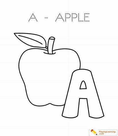 Coloring Apple Alphabet Letter Pages Sheet Through