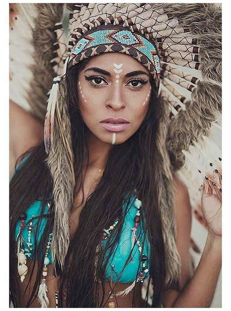 modele peinture visage femme dinspiration amerindienne