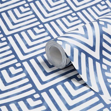colours hadley blue geometric mica wallpaper departments