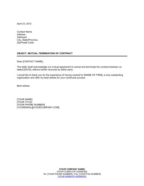 contract cancellation letter termination of contract template sle form