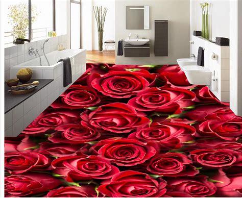 pvc waterproof floor red rose custom photo floor