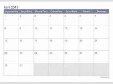 Calendário abril 2019 para imprimir iCalendáriopt