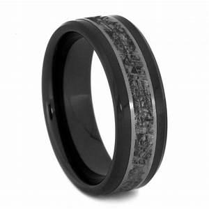 Black ceramic wedding band titanium ring with mimetic for Ceramic mens wedding rings