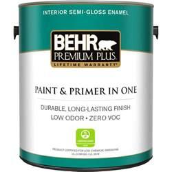 home depot interior paint brands behr premium plus 1 gal ultra white semi gloss zero voc interior paint 305001 the home depot