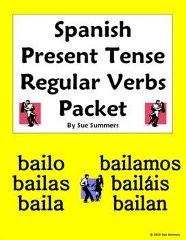 spanish present tense regular verbs  page bundle  sue