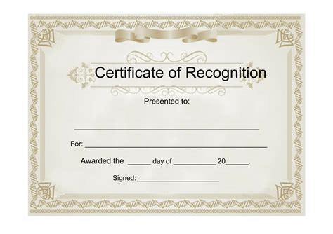 Certificate Of Recognition Template Sle Certificate Of Recognition Free Template