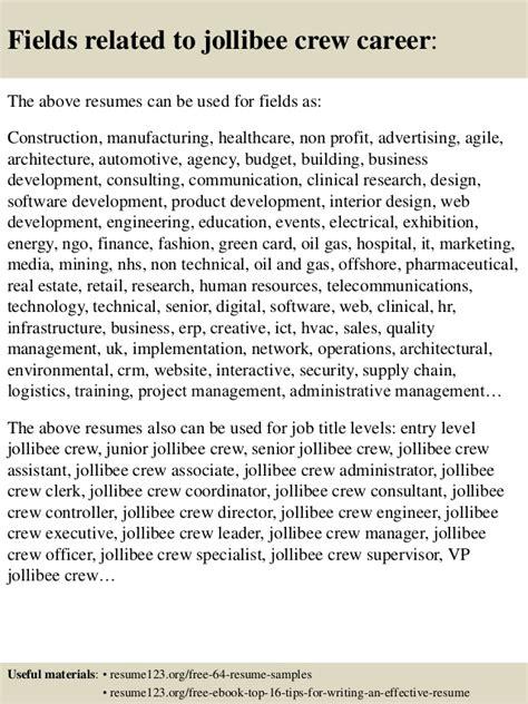 top 8 jollibee crew resume sles