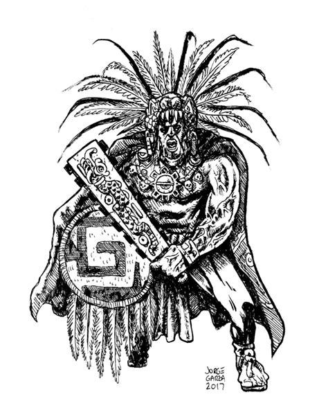 Aztec Warrior Ink Drawing · Qetza · Online Store Powered