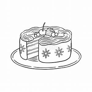 Coloring Book  Vector Cheesecake With A Cherry Berries
