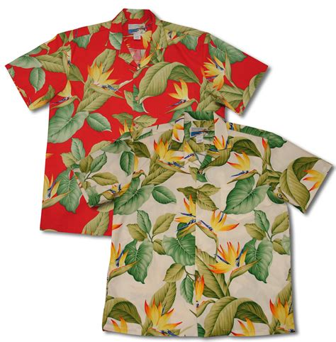airbrush bird  paradise ii waimea casuals mens aloha shirt