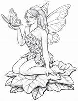 Coloring Pages Fairy Adult Uploaded User Pencil Drawing Garden sketch template