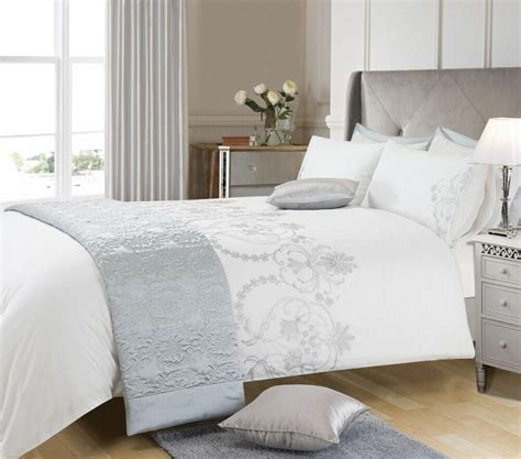 White Duvet Cover King by White Silver Colour Stylish Embroidery Duvet Cover Luxury