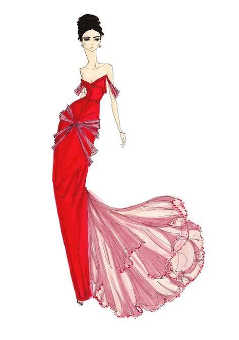 fashion illustration venetian red dress fashion art