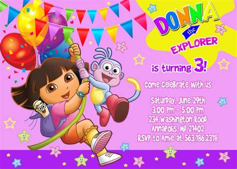 dora  explorer birthday invitations template