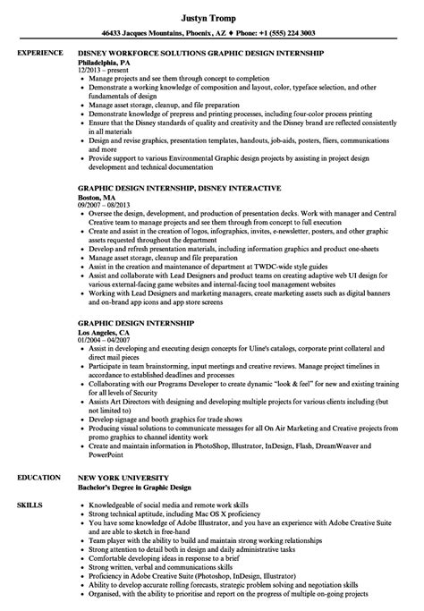 graphic design internship resume sles velvet